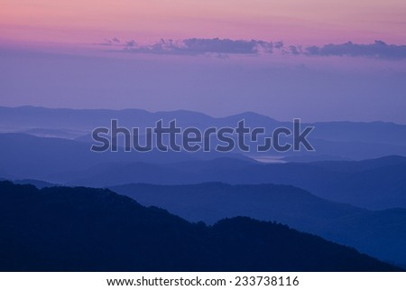 Blue Ridge Mountain Evening - stock photo