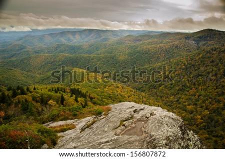 Blue Ridge Mountain Vista in North Carolina - stock photo