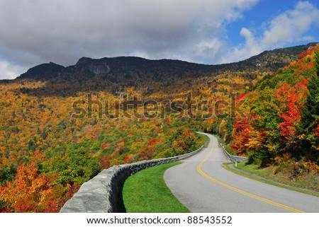 Blue Ridge Mountains and Blue Ridge Parkway - stock photo