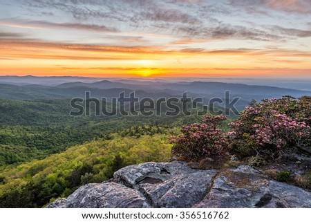 Blue Ridge Mountains scenic summer sunrise from Hawksbill Mountain - stock photo