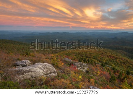 Blue Ridge Mountains sunset at the Rough Ridge Overlook off the Blue Ridge Parkway near Blowing Rock North Carolina - stock photo