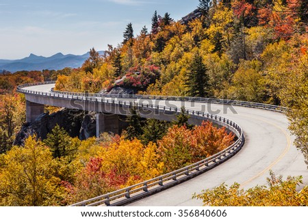Blue Ridge Parkway at fall - stock photo