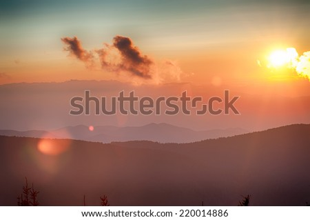 Blue Ridge Parkway Autumn Sunset over Appalachian Mountains  - stock photo