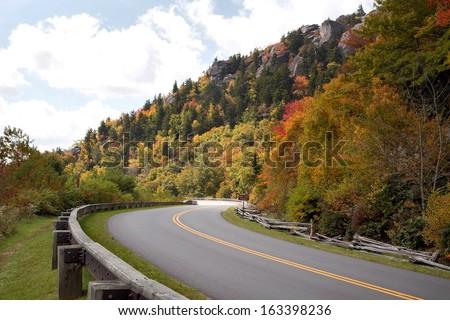Blue Ridge Parkway in Autumn - stock photo