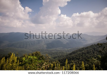blue ridge parkway landscapes - stock photo
