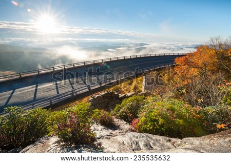 Blue Ridge Parkway Linn Cove Viaduct Autumn Sunrise Scenic - stock photo