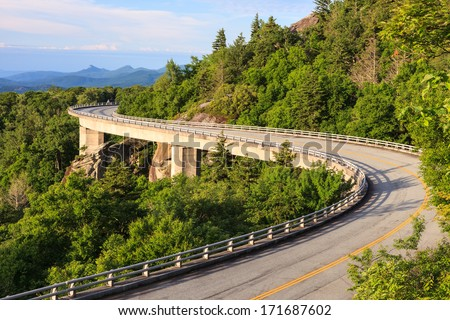 Blue Ridge Parkway Linn Cove Viaduct in Western North Carolina - stock photo