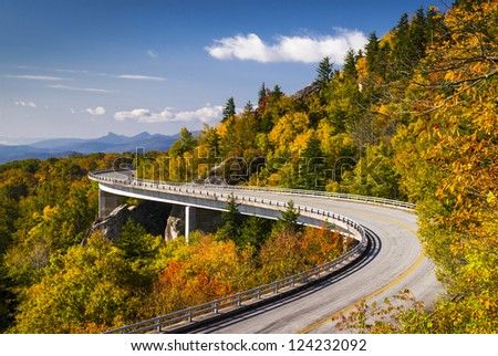 Blue Ridge Parkway Linn Cove Viaduct North Carolina Appalachian Landscape scenic travel photography in autumn