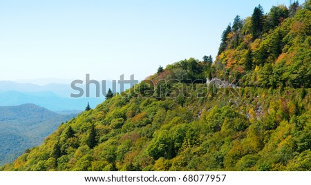 Blue Ridge Parkway road and blue mountain layers - stock photo