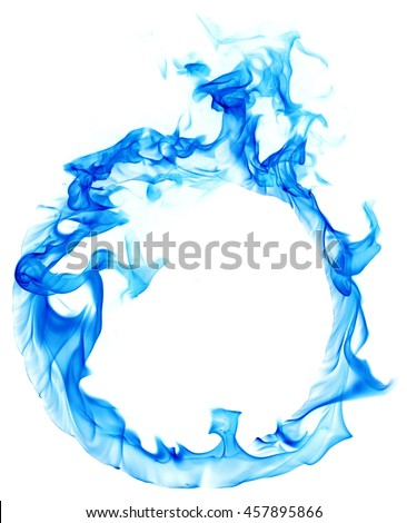Blue ring of fire on white background isolated. Light blue smoke forms a closed gas circle. Fiery texture.