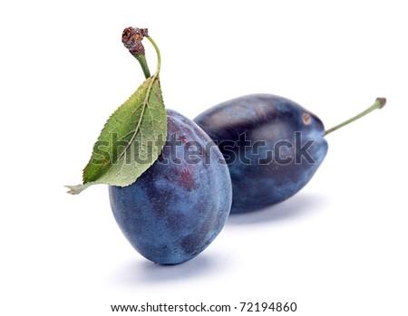 Blue ripe plum fruit closeup isolated on white - stock photo