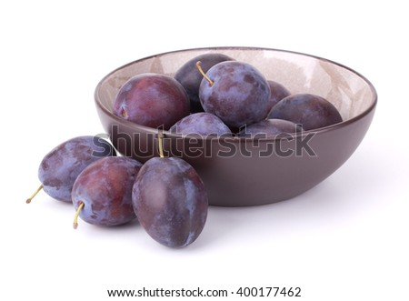 Blue ripe Plums isolated on white background - stock photo