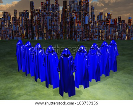 Blue Robed Mystics before the great city with city lights - stock photo