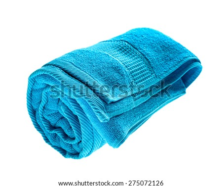 Blue rolled towel Isolated on white background. - stock photo