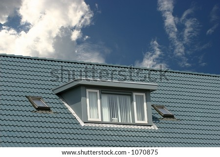 blue roof - stock photo