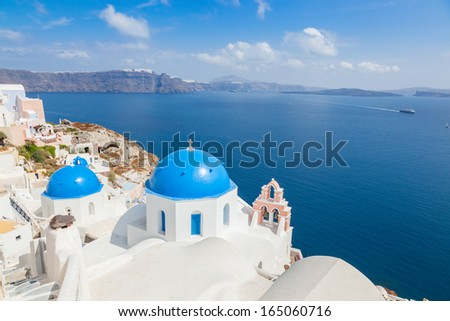Blue roof church in Santorini, Greece - stock photo