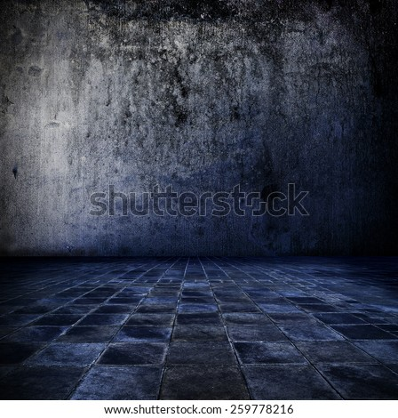 Blue room. Grungy concrete room with tiled floor in blue. - stock photo
