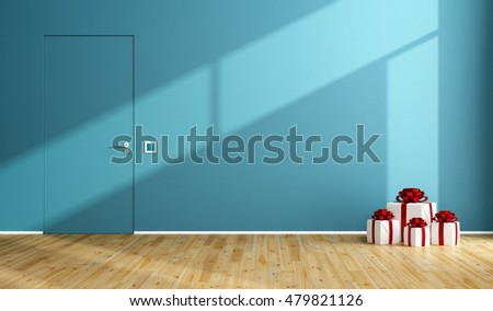 Blue room with christmas gift on wooden floor and closed door - 3d rendering