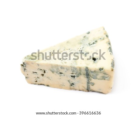 Blue roquefort cheese isolated - stock photo