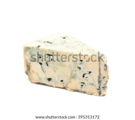 Blue roquefort cheese isolated over the white background - stock photo
