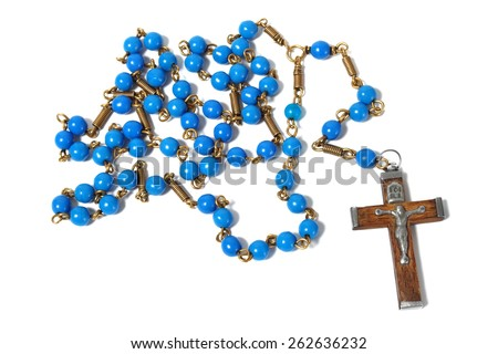 Blue rosary  isolated on white background. - stock photo
