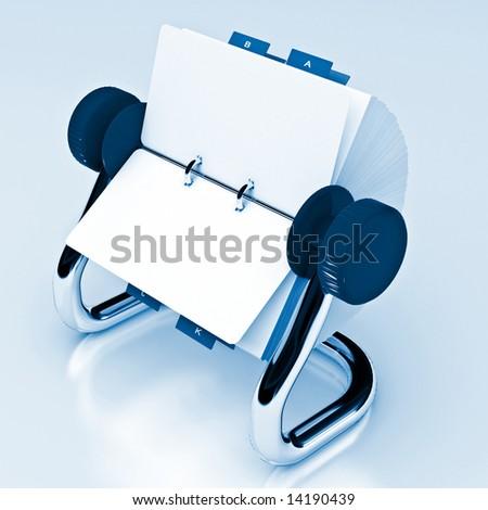 Blue rotary card 4 - stock photo