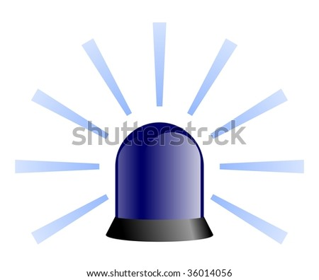 Blue Rotating Beacon - stock photo