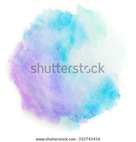 Blue round abstract background in watercolor style