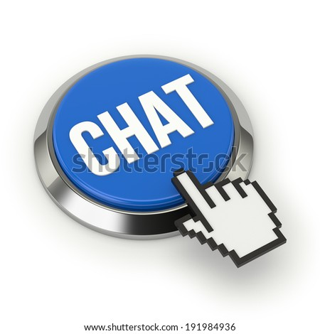 Blue round chatbutton with steel border on white background