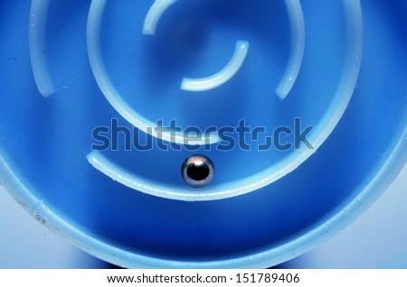 Blue round maze - stock photo