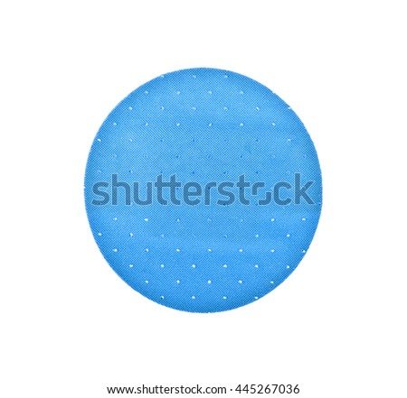 Blue round plaster on a white background - stock photo