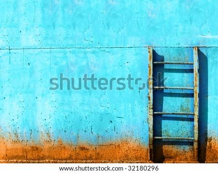blue rusty vintage stairway - stock photo