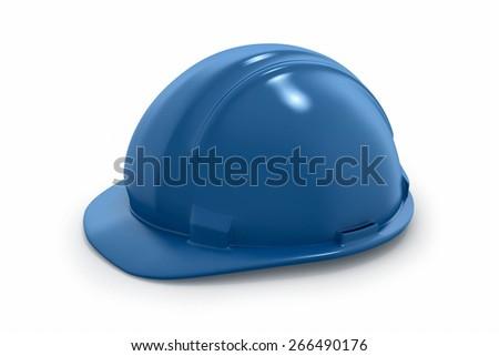 Blue Safety Helmet on White Background - stock photo