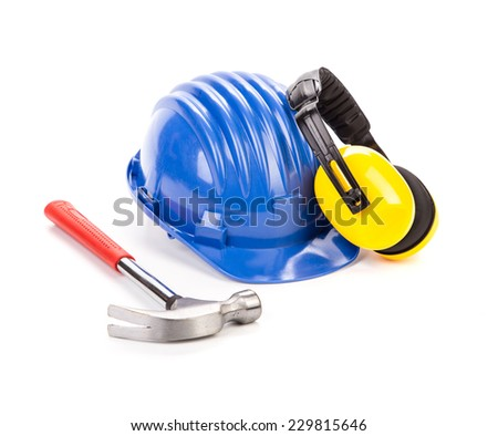 Blue safety helmet with earphones. Isolated on a white background.