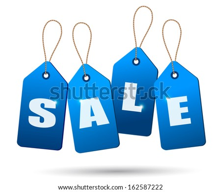 Blue sale tags. Concept of discount shopping. Raster version - stock photo