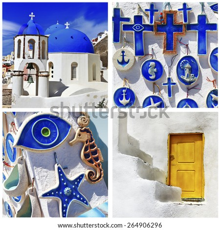 blue Santorini - beautiful traditional details of Cyclades - stock photo