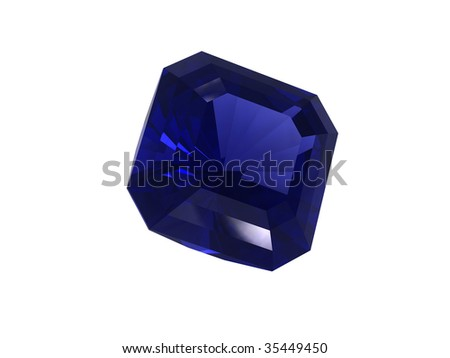 Blue sapphire gemstone isolated on white background