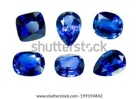 blue sapphire isolated on white background - stock photo