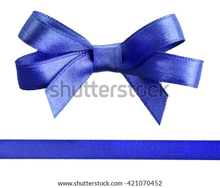 Blue satin bow and ribbon isolated on white - stock photo
