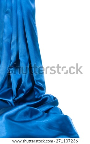 Blue satin fabric. - stock photo