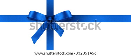 Blue Satin Gift Ribbon with Decorative Bow - Horizontal Panorama Banner - Christmas, Easter, Birthday and Valentine Decor - Isolated on White Background - For Gift Coupon, Gift Certificate and Bonus - stock photo