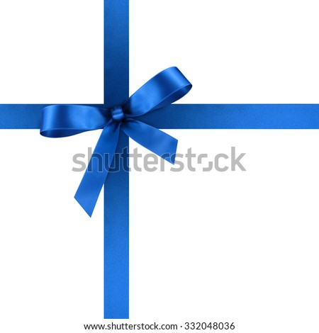 Blue Satin Gift Ribbon with Decorative Bow - Ornate Textile Decor - Isolated on White Background - For Christmas and Easter Season - Valentine and Mothers Day - stock photo