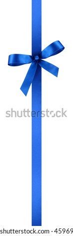 Blue Satin Gift Ribbon with Decorative Bow - Vertical Banner Illustration Isolated on White Background - stock photo