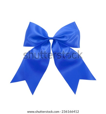 blue satin Ribbon bow  Isolated on white - stock photo