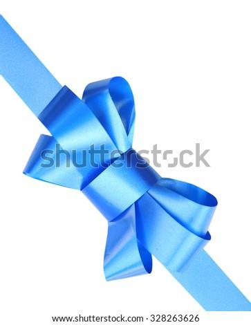 Blue satin ribbon bow isolated on white - stock photo