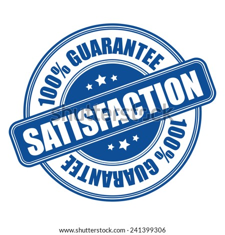 Blue satisfaction 100% guarantee icon, tag, label, badge, sign, sticker isolated on white