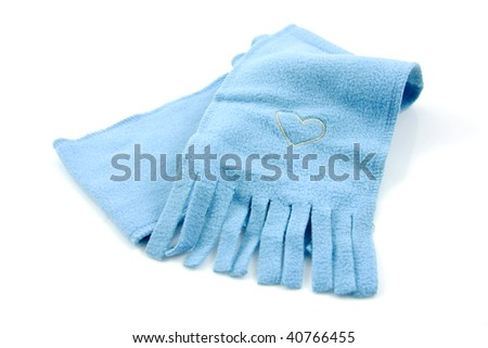 blue scarf for children isolated on white background