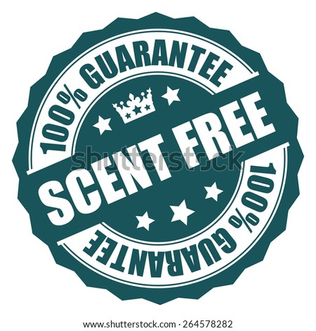 Blue Scent Free 100% Guarantee Badge, Banner, Sign, Tag, Label, Sticker or Icon Isolated on White Background - stock photo