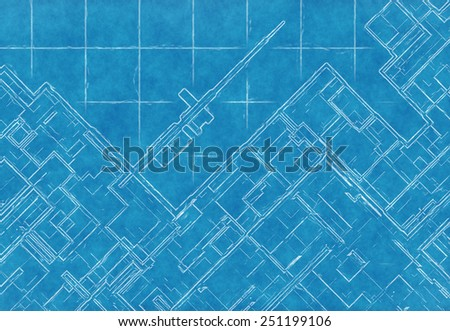 blue scheme of top view city plan on graph paper. abstract backgrounds