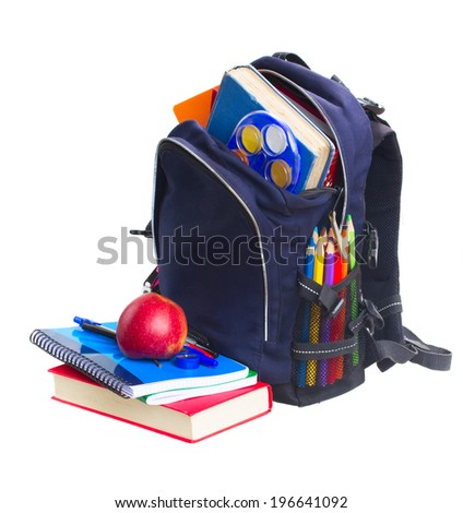 blue school backpack full of  stationery  isolated on white background - stock photo
